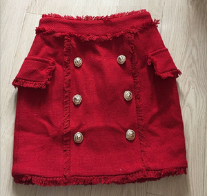 New Style Top Quality Original Design Women's Double-Breasted Hairy Skirt Metal Buckles Fringed Package hip Miniskirt