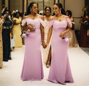 Pembe Afrika Mermaid Nedime Elbiseler 2020 Spagetti Artı Boyutu Siyah Kız Düğün Konuk Akşam Parti Abiye Hizmetleri Onur Elbise Özelleştirilmiş