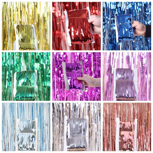 Foil Curtains Metallic Fringe Curtains Shimmer Curtain for Birthday Wedding Party Photo Booth Decorations 1 x 3 meters
