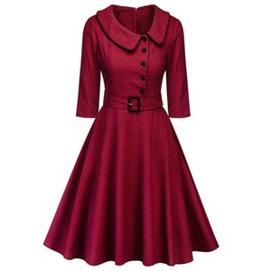 1960 mulheres elegante da festa Red Wine Primavera Vestido Feminino Vestidos de Audrey balanço Rockabilly RobeButton Cintos vestido formal