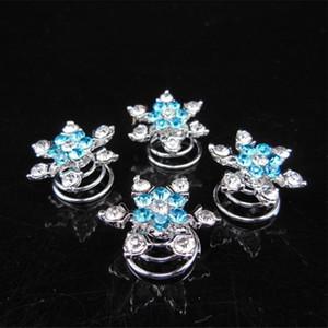 Mujeres nupcial tocado pelo joyería copo de nieve pinzas de pelo chica diamante accesorios para el cabello horquilla para Cosplay fiesta FavorT2C5173