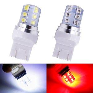고품질 10PCS / 많은 T20 7443 스트로브 플래시 라이트 (12) SMD 2835 LED 실리콘 역 등 브레이크 라이트 주차 램프 화이트 빨간색 자동차 조명