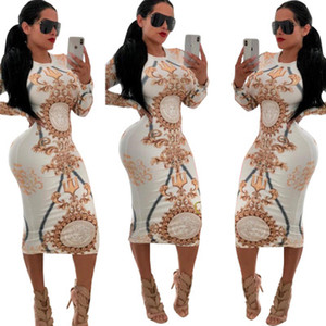 Mulheres Designer de Estiramento Vestido de Festa Sexy Vestidos de Impressão Floral Skinny Club Wear Lindo Vestidos Maxi Bandage Vestido Bodycon