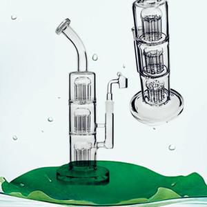 13 Zoll groß klar Farbe drei Schichten Bäume acht Percs Glas Wasser Bongs gebogener Hals Glasbongs 14.4mm bange für Kalianshäuser Raucher