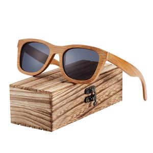 BARCUR Retro Hombres Gafas de sol Mujer Gafas de sol polarizadas Bambú Gafas de sol de madera hechas a mano Playa Gafas de madera Gafas de sol