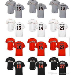 Benutzerdefinierte Männer Frauen Kinder Miami Marlins Jersey 14 Martin Prado 13 Marcell Ozuna 16 Jose Fernandez 27 Giancarlo Stanton Baseball-Shirt Geschenk