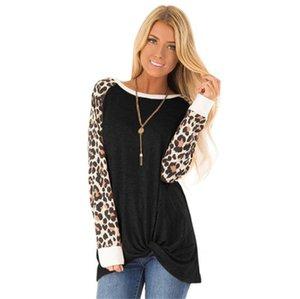 Moda-Leopard Gevşek Kadın Tshirts Tasarımcı O Yaka Uzun Kollu Bayan Uzun Tshirts Moda Katı Renk Kadın Tees