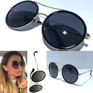 Las mujeres 0061 gafas de sol de la manera del estilo mixto Color del marco redondo retro para las mujeres de calidad superior del ojo 0061S gafas de lente Protección UV con la caja