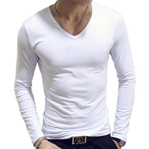 Fashion Frühling Herbst-Periode lange Hülse kultiviert T-Shirt Sets O-Ansatz Normal Polyester T-Shirt Männer Rot Blau Schwarz