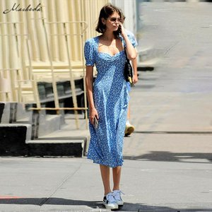 Macheda romance francês retro Vestidos Mulheres Casual Floral Imprimir Collar Praça Vestidos Ruffles Puff luva Midi Lady 2019
