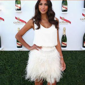 Bastante cóctel pluma de avestruz partido de los vestidos robe de soirée Mini Vestidos cortos del vestido de la alfombra roja de la gasa del vestido de la celebridad