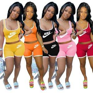 Les femmes concepteur de sport de jogging costume Vêtements d'été Camisole + Shorts 2pc Set de gilet Jogger Costume petits hauts de vêtements d'été 3393