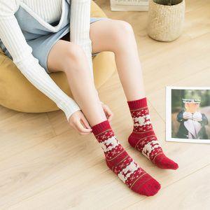 Зимние Рождественские Носки Женщины Подарок Для Девочек Теплая Шерсть Снежинка Олень Рождественский Носок Удобные Носки