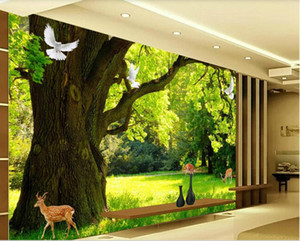 3d chambre papier peint personnalisé photo murale HD moderne bois minimaliste paysage 3D TV fond d'écran de mur pour les murs 3 d