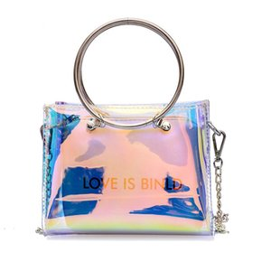 AUAU-Fashion Women Bag Set Shoulder Bag+Clutch For Teenage Girls Fashion Laser-Jelly Crossbody Bag Circle Handle Tote