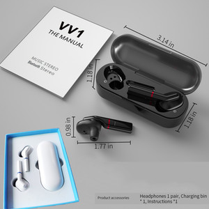 V V1 sem fio Bluetooth 5.0 Headset Sports Ear Hook Earphones Sweatproof Headphone Toque Earbuds portáteis com microfone para telefones móveis