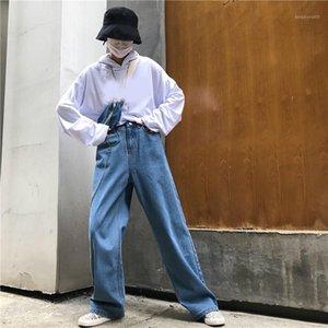 2019 Summer Women Streetwear High Waist Denim Long Trouser High Street Loose Pocket Button Straight Wide Leg Jeans1