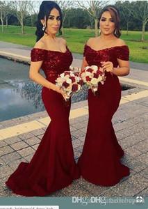 Burgunder Bridemaid Kleider Sequin Lace Mermaid Off Shoulder Hochzeitsgast Kleid lange Vestidos de Dama de Honor Günstige Prom Kleider Party Kleid