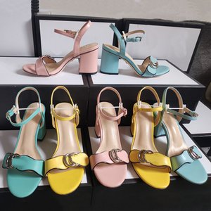 Newly Chunky Heel Sandals Real Leather Sandal Sandals Slippers House Flip Flops Spike Zapatos Hombre Heel Height 7.5cm