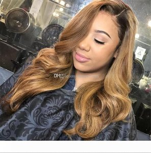 Brazilian Ombre Body Wavy Glueless Full Lace Human Hair Wigs 1B 27 Honey Blonde Two Tone Lace Front Wigs 130 Density Bleached Knots