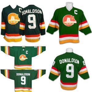 9 Barclay DONALDSON BroomCounty BLADES Slapshot Película de hockey jerseys con el capitán C Patch camisa verde Hombres Mujeres Jóvenes doble costura