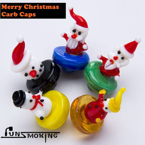 Santa glass carb cap gift for Christmas for glass bongs rigs mixed colors and mixed designs made by high quality glass