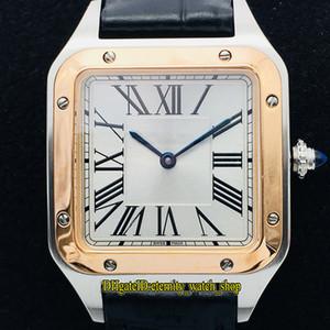 VSF V2 versão de atualização W2SA0011 W2SA0012 Branco Dial Quartzo Suíço Movimento Mens Watch Caixa de aço ouro rosa 18K Designer relógios de esporte de couro
