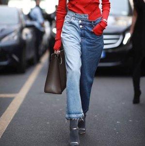 Jean Femme Frühlings-neue Frauen-Blau Patchwork Wide Leg Jeans Designer Hose für Frauen kühlen Patchwork Jeans