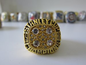 1988 Edmonton Oilers Stanley Cup Team Champion Championship Ring With Wooden Display Box Souvenir Men Fan Gift Wholesale Drop Shipping