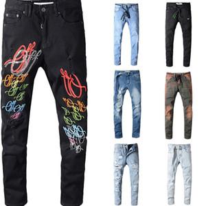 dos homens afligido Off Ripped Skinny Jeans Designe Magro motocicleta Moto motociclista Causal Mens Denim Pants Hip Hop calças jeans branco Jeanes