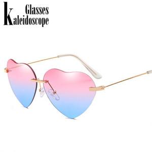 Kaleidoscope Gözlük Kalp Güneş Kadınlar Aşk Lolita Çerçevesiz Çerçeve Temizle Şeffaf Tonu Güneş Gözlükleri Vintage Çerçevesiz UV400