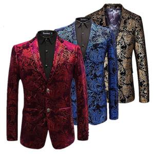 Chaqueta de terciopelo de plata de los hombres de Paisley Floral Chaquetas Vino rojo Escenario dorado Traje de la chaqueta Elegante Boda para hombre Blazer Plus Size M-6xl Y190420