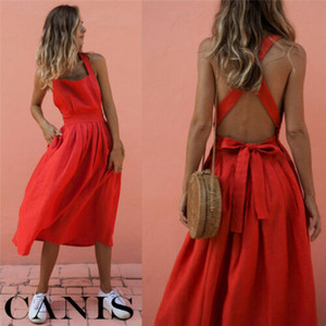 Hot Women Summer Red Dress Vintage Vestidos Boho Strappy Backless Midi Dresses Lady Loose Bandage Dress Party Beach Sundress Nuevo