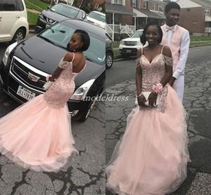 Black Girl Pink Crystal Mermaid Vestidos de baile Spaghetti Sweep Train Beads Corset Vestido de fiesta largo de noche formal Vestido de ocasión especial 2019