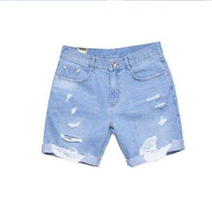 Men's Short jeans Explosion Models Men's NEW 2019 Summer Popular light color thin men's hole pants 11080
