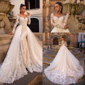 2020 Sexy Plus Размер Русалка Свадебные платья Милая Свернуть Плечо Кружева Аппликации Бусины с отрывной кнопкой поезда назад Свадебные платья