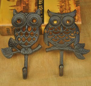 6 Pieces Cast Iron Owl Hook Metal Wall Mount Hooks Home Garden Key Coat Hanger Rack Holder Vintage Country Animal Decoration Brown Retro