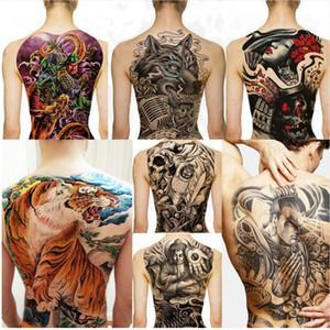 Big Large Full Back Brust Tattoo Große Tattoo Aufkleber Fisch Wolf Tiger Drache Wasserdicht Temporäre Flash Tattoos Cool Men Women