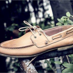 Урожай британский стиль Лодочные обувь мужчин Лучшие качества Низкий Top Lace Up вскользь натуральная кожа обувь Мокасины Мода вождения обувь