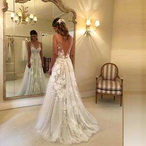 2019 Новый Lace Пляж Свадебные платья Бич-линии 3D-цветочные аппликации свадебное платье для беременных Беременные Boho Свадебные платья Backless Дешевые