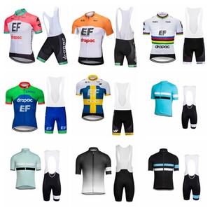 2019 RAPHA EF 교육 첫 프로 사이클링 저지 여름 짧은 소매 사이클 MTB Ropa Ciclismo 자전거 maillot 턱받이 반바지 세트 K032802