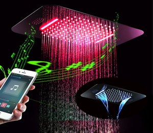 Composición de música en 304sus Ducha superior 380x580 Multifunción Cascada de lluvia Luz LED Cabezales de ducha Electricidad Potencia 64 colores Control remoto