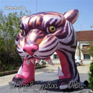 Personalizado Publicidad inflable de la mascota del tigre del arco 4m Altura Blow Up Big Tiger Head túnel para la entrada de conciertos y la decoración de la música del partido