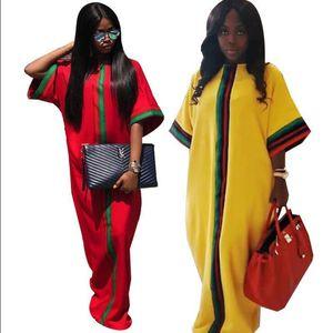 2.019 Tamanho Grande manga vestidos de mulheres de meia reta de vestido Plus Size listras África do estilo solto Maxi vestidos casuais Mulheres Roupa