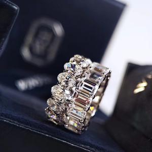 2020 erken bahar serisi oval tam elmas yüzük Avrupa ve Amerikan moda gümüş 50 puan kaplama satır matkap geniş versiyon simülasyon halkası