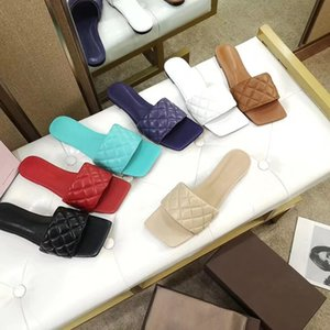 Fashionable and high-quality new leather knitting slippers leather knitting slippers Latest Real leather slippers women shoes Square sole mu