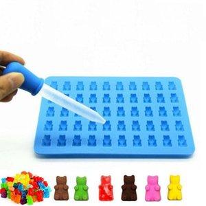 BPA مجانا FDA وافق الغذاء الصف 50 تجويف صغير مكعبات الثلج حلوى الشوكولاته سيليكون غائر الدب العفن مع قطارة LX1467