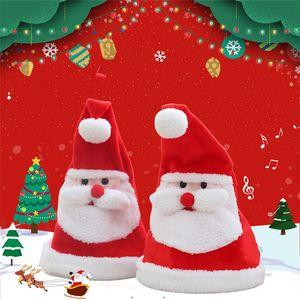 Caps eléctrico luminoso de Navidad con juguetes de peluche de la música swing Santa Claus sombreros de fiesta Decoraciones de Navidad sombrero de los niños T9I00190