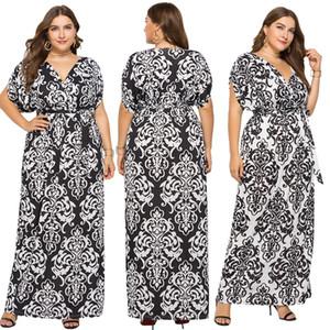 Лето-цифровой печати Женская мода XL Этнический-Style Midi платье