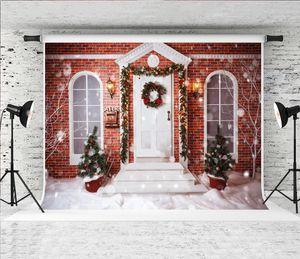Dream 7x5ft Red Brick Christmas House Photography Sfondo Albero di Natale Ghirlanda Decor Photo Background per bambini Festa di Natale Spara Prop